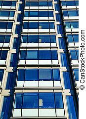 oficina, rascacielos, bloque de cristal, reflexión, windows