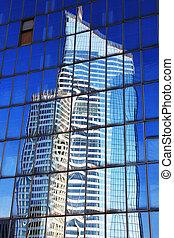 oficina, rascacielos, bloque, reflexión, windows