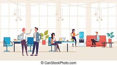 oficina, vector, caracteres, concept., ilustración, trabajadores, plano, gente, working., hablar, vida, diseño de interiores, gráfico