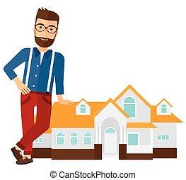 ofrecimiento, agente, house., propiedad, verdadero