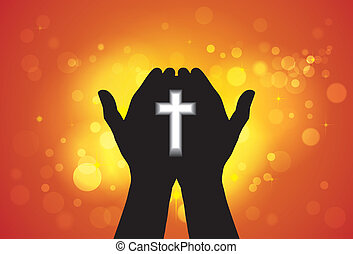 ofrecimiento, o, el adorarse, oración, persona, mano, cruz