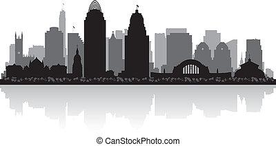 ohio, silueta del horizonte, cincinnati, ciudad