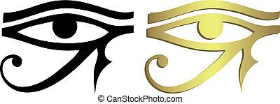 Ojo de Horus en negro y dorado