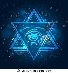 ojo, doble, triángulo, señal