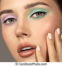ojo, perfecto, joven, woman., moda, colorido, retrato, shadows., skin.