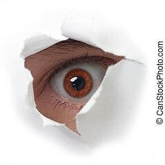 Ojo rojo y papel