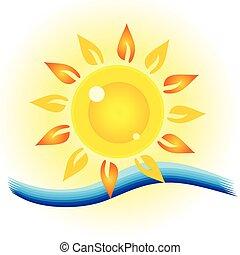 Ojo solar con ilustración marina