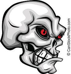 ojos, caricatura, cráneo, rojo