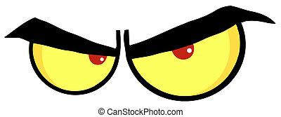 ojos, caricatura, enojado