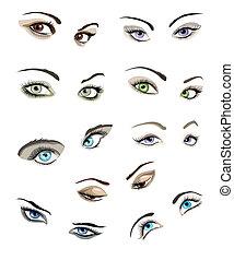 ojos, conjunto, woman's