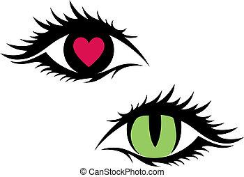 Ojos femeninos, vector