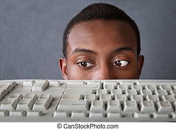 ojos, hombre, sobre, teclado