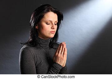 ojos, mujer, joven, religión, momento, cerrado, oración