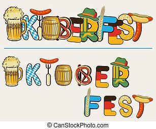 oktoberfest, texto, ilustración, aislado, lettersl., vector, cerveza, diseño, blanco