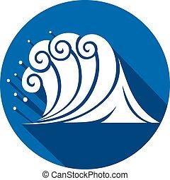 Ola de mar icono plano (Océano)