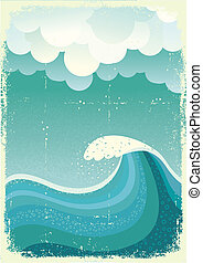 Ola en el océano. Agua de la naturaleza