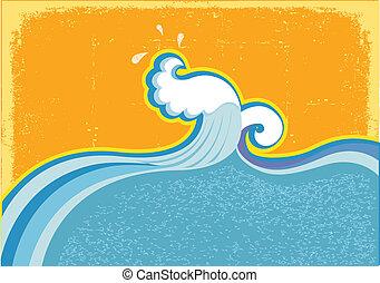 Ola en el océano. Agua de la naturaleza. Simbol abstracto