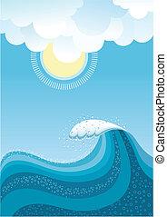 Ola en el océano, fondo de agua con sol