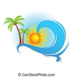 Ola marina con palmera