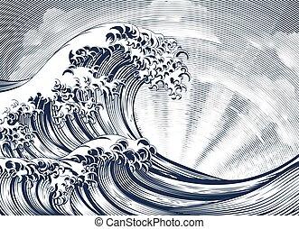 Ola oriental japonesa haciendo grabado madera