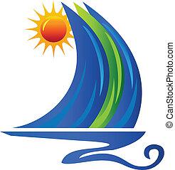 Olas de barco y logotipo solar