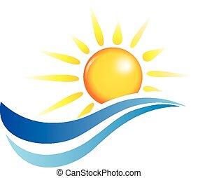 Olas de sol y agua