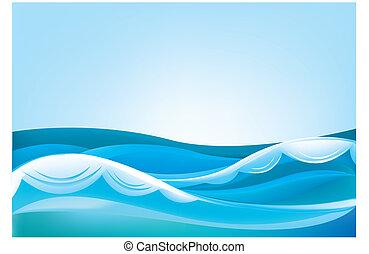 Olas del océano y del cielo azul