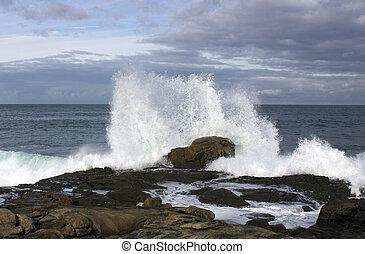 Olas en la costa con fuerza