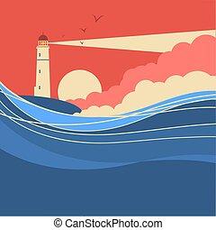 Olas marinas con faro, póster de naturaleza vegetal