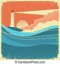 Olas marinas con faro. Un póster natural de paisaje marino