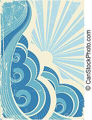 Olas marinas y sol. Ilustración del vector del paisaje marino