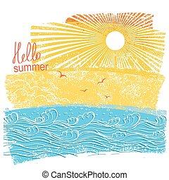 Olas marinas y sol. Ilustración vectorial del paisaje marino con texto