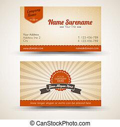 old-style, empresa / negocio, vendimia, vector, retro, tarjeta