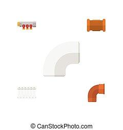 Oleoducto de icono plano conjunto de hierro, radiador, oleoducto y otros objetos vectoriales. También incluye hierro, radiador, elementos plásticos.
