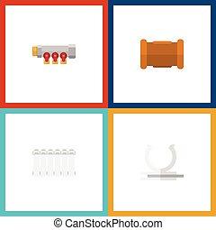 Oleoducto de icono plano de conducto, tubería, radiador y otros objetos vectoriales. También incluye calefacción, yeso, elementos de tubería.
