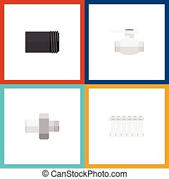 Oleoducto de icono plano de flange, radiador, tubo y otros objetos vectoriales. También incluye termostato, bomba, elementos de agua.