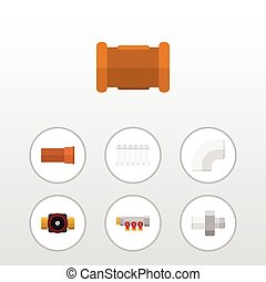 Oleoducto de icono plano de plástico, tubería, tap y otros objetos vectoriales. También incluye controlador, termostato, elementos de conector.