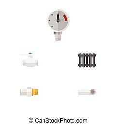 Oleoducto de icono plano de presión, flange, industria y otros objetos vectoriales. También incluye presión, calefacción, elementos plásticos.