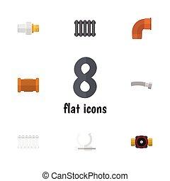 Oleoducto de icono plano de radiador, industria, tap y otros objetos vectoriales. También incluye embutidos, titulares, elementos de conector.