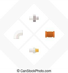 Oleoducto de icono plano de tubería, industria, plástico y otros objetos vectoriales. También incluye tuberías, hierro, elementos de la industria.