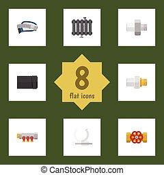 Oleoducto de icono plano de tuberías, calefacción, conducto y otros objetos vectoriales. También incluye controlador, corrugado, elementos de tubería.