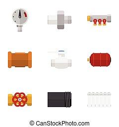 Oleoducto de icono plano, tubo, conector y otros objetos vectoriales. También incluye termostato, hierro, elementos de válvula.