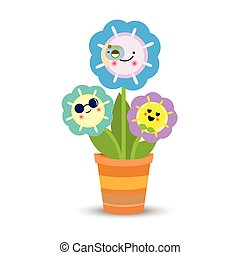 ollas, flores, plano de fondo, blanco, encantador
