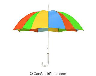 om, paraguas, colorido, aislado, plano de fondo, blanco