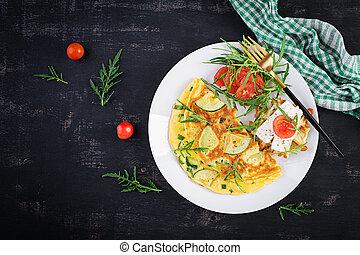 omelet., italiano, vista, queso, feta, hierbas, emparedado, sobre, frittata, tortilla, -, espacio, zapallitos, copia, punta verde, plato.