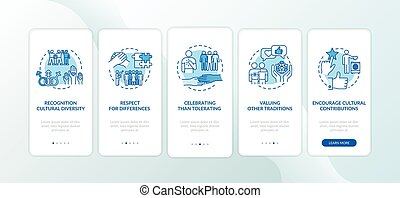 onboarding, app, respeto, móvil, conceptos, pantalla, página, multi racial