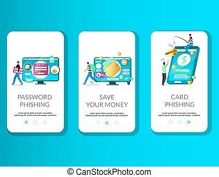 onboarding, phishing, vector, plantilla, app, móvil, pantallas