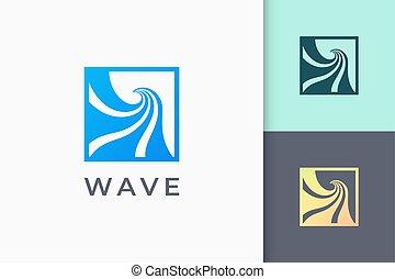onda, o, oleaje, simple, océano, logotipo, moderno