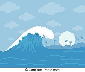 onda océano, escena