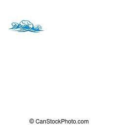 ondas, agua, salpicar, aislado, mar
